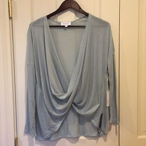 NEW Seafoam Sheer Gathered Front Top
